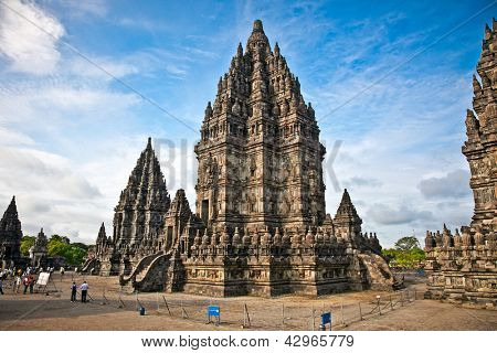 Prambanan templeb in sunset , near to Yogyakarta on Java, Indonesia.