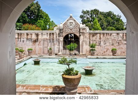 Ancient pool at Taman Sari water castle - the Royal garden of sultanate of Yogyakatra.  Java, Indonesia.