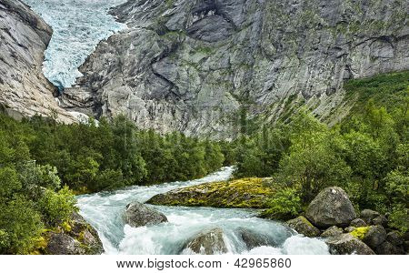 Glacier Briksdal In National Park In Norway.