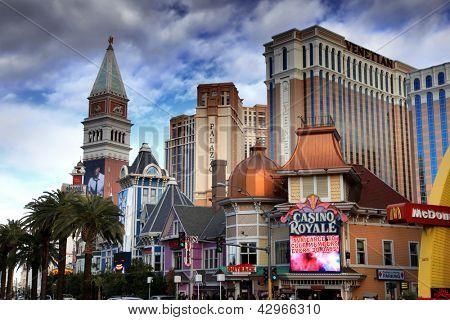 LAS VEGAS - DEC 27: LasVegas hotels and casino on December 27, 2012 in Las Vegas. Nevada casino's revenue in 2012 hit 10.8 billion USD
