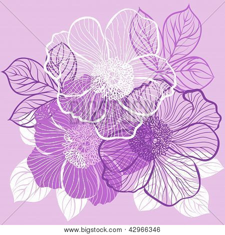 Floral background with flowers of peony