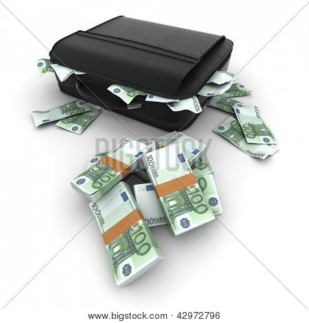 A briefcase full of cash in hundred euro  bills