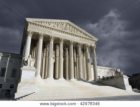 Thunder storm sky over the United States Supreme Court building in Washington DC.