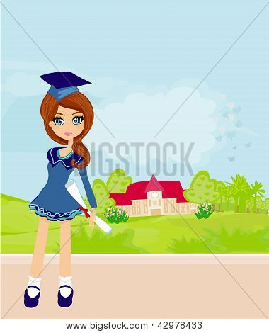 Illustration Of A Kid Holding Her Diploma