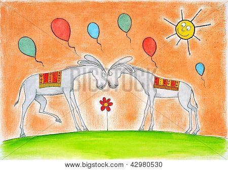 Happy donkeys with balloons, child's drawing, watercolor painting on paper