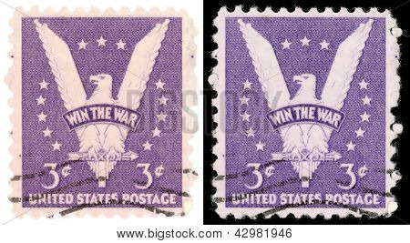 "UNITED STATES - 1942: Win the War stamp is a United States postage stamp, one of only three issues of 1942 and created to encourage victory in World War II. The eagle is in a ""V"" shape for victory."