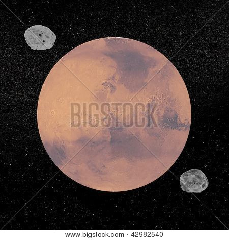 Mars Planet And Deimos And Phobos Satellites - 3D Render