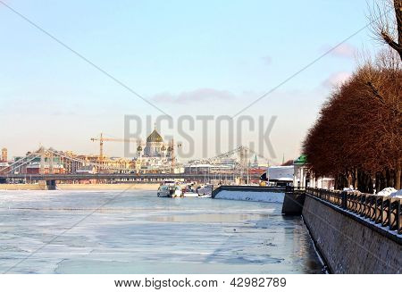 Embankment Of Moscow River In Winter