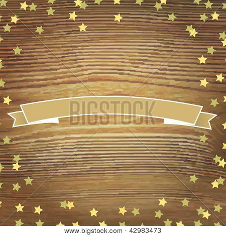 Wooden Background With Gold Stars And Banner Ribbon, Vector Illustration