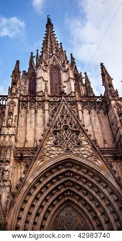 Gothic Catholic Cathedral Facade Steeple Barcelona Catalonia Spain