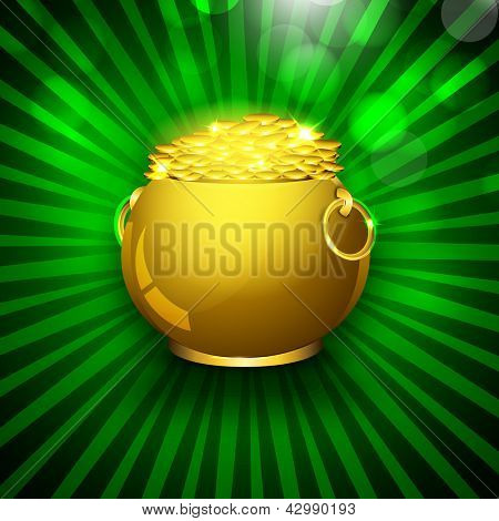 Happy St. Patrick's Day flyer, banner or poster with golden pot with coins on rays background.