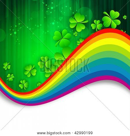 Irish shamrock leaves with rainbow background for Happy St. Patrick's Day. EPS 10.