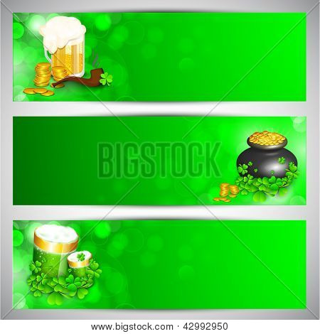 Website header or banner set for St. Patrick's Day celebration with gold coins pot and beer mugs on green background.