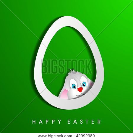 Happy Easter background with bunny in easter egg.