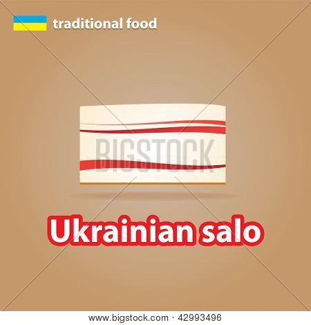 traditional Ukrainian food - Ukrainian lard(salo). vector
