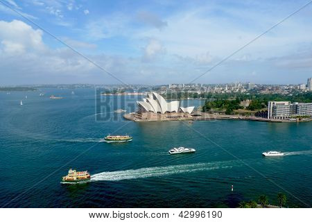 Areal view at  Opera House and Sydney harbor  in Sydney, Australia