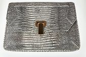 stock photo of lizard skin  - Designer female leather handbag with lizard skin pattern - JPG