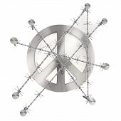 Barbed peace sign illustration with razor wire