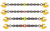 picture of unsafe  - Vector illustration set of chains - JPG