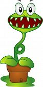 image of flytrap  - Illustration of a Mascot Venus Flytrap in a pot - JPG