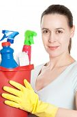 picture of cleaning service  - A woman with cleaning gear on a white background - JPG