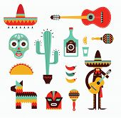 foto of guitar  - Vecor illustration of various stylized icons for Mexico - JPG