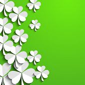 stock photo of shamrocks  - Irish shamrock leaves background for Happy St - JPG