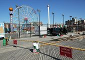 Repair begins at Coney Island Boardwalk after damage by Hurricane Sandy