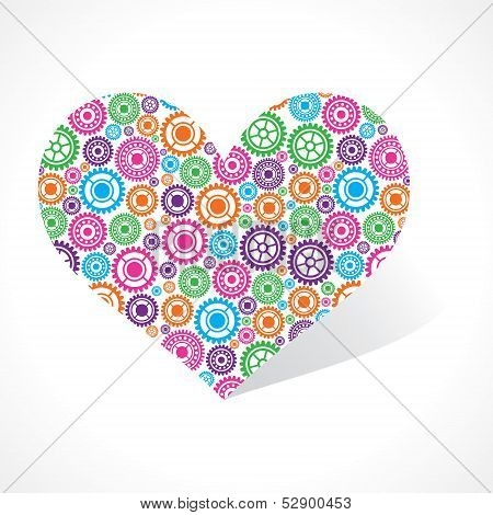 Group of gear make a heart stock vector