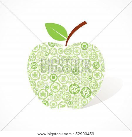 Group of gear make a green apple stock vector