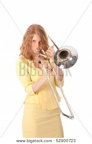 Young Woman In Yellow Playing Trombone