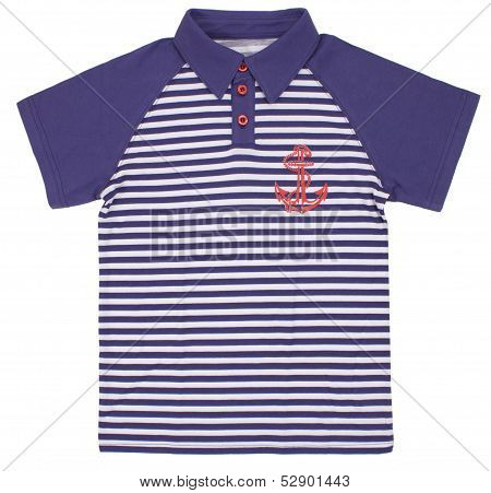 Children's striped polo t-shirt isolated on white background.
