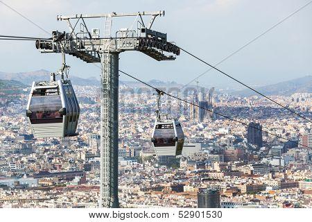a beautiful modern funicular against Barcelona