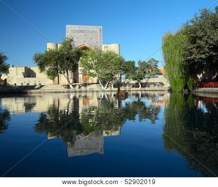 Lyab i Hauz - complex of oriental buildings around the pond. Bukhara, Uzbekistan