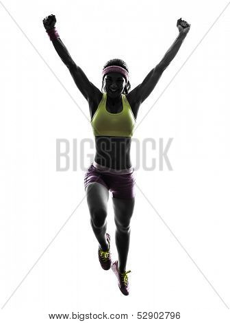 one caucasian woman runner running jumping  in silhouette on white background