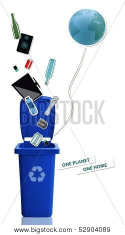 Blue Recycle Bin With Recyclable Materials