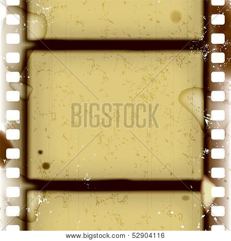 Raster version of vector grunge frame and background with spoiled vintage film strip