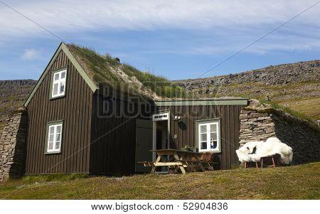 Iceland. Isafjardaraiup Fiord. Traditional Icelandic House.