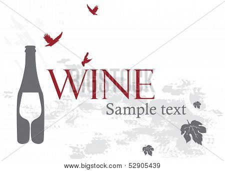 Wine list. Sample text. Pouring wine concept. Wine label design