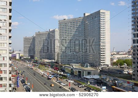 MOSCOW - MAY 10: New Arbat Street, on May 10, 2013 in Moscow, Russia. Highway, called the New Arbat, was built in 1963.