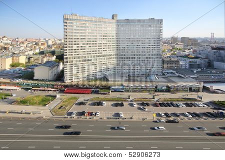 MOSCOW - MAY 10: Tall building at New Arbat Street at spring day, on May 10, 2013 in Moscow, Russia. Length of street is 1.5 km.