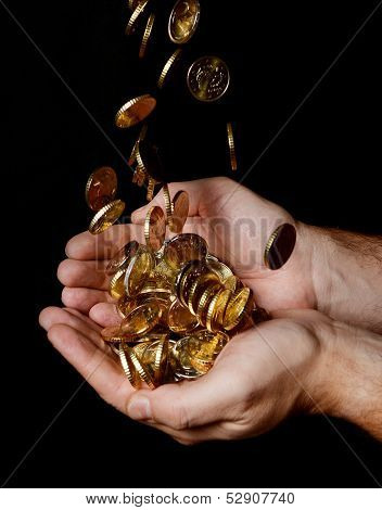 Man Hands Full Of Money Receiving A Rain Of Coins