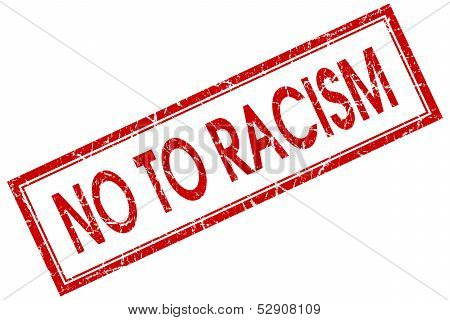 No To Racism Square Red Grunge Stamp