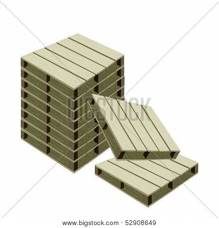 A Stack Of Wood Pallets On White Background
