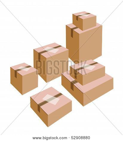 A Stack Of Cardboard Boxes With White Labels