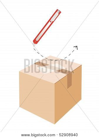 Correct Cutting Procedure To Open A Cardboard Box