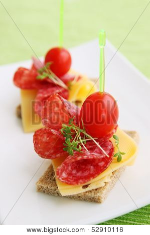 Canapes With Cheese And Salami