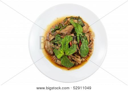 Thai Spicy minced meat salad, Isolated