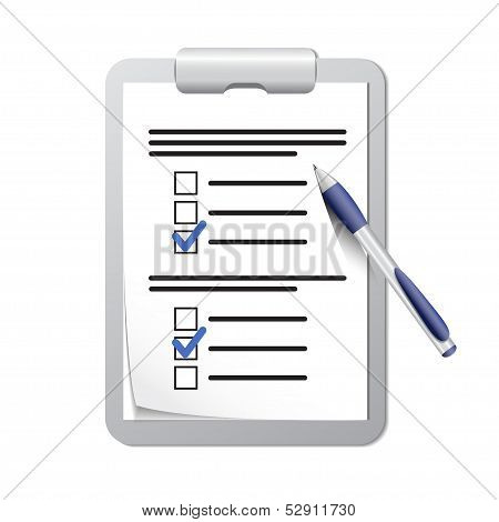 Clipboard with check list and pen