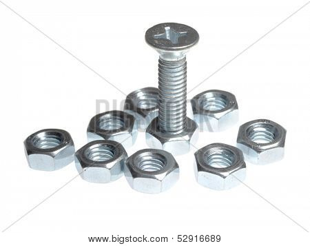 One bolt and several nuts isolated on white